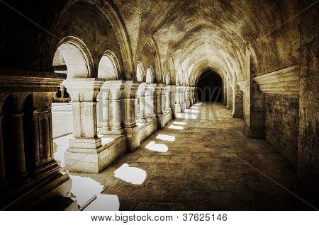 Abbaye De Fontenay Archway Hall Vintage Retro View