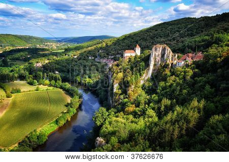 Cirq La Popie Village On The Cliffs Scenic View, France