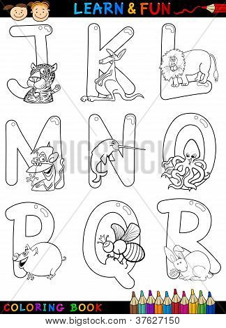 Cartoon Alphabet With Animals For Coloring