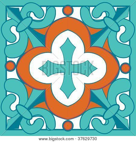 Turquoise and Orange Mexican Talavera Tile Design