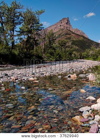 Clear Rockey Creek With Mountain Peak
