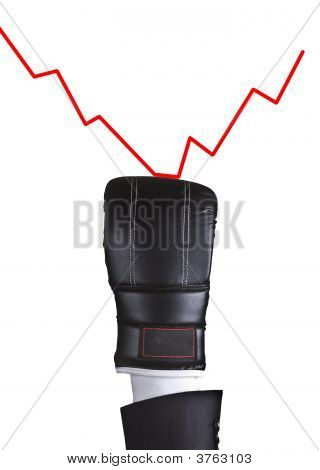 Boxing Glove Punch Graphic On White Background