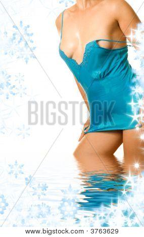 Wet Dress Girl In Water