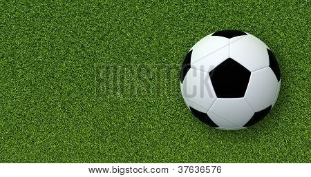 Soccer ball on grass.