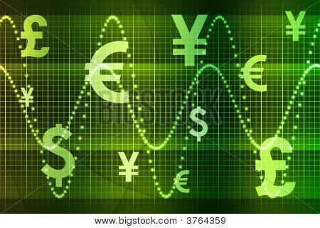 Green World Currencies Business Abstract Background