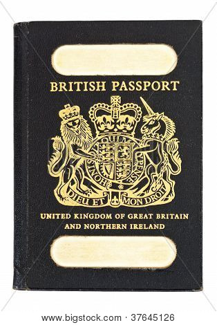 Front Shot Of Old Style British Passport