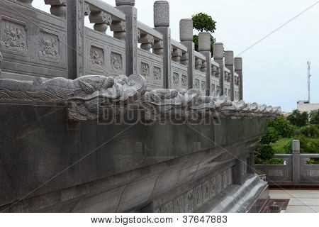 Stone Dragon Top Pillar At Chinese Temple