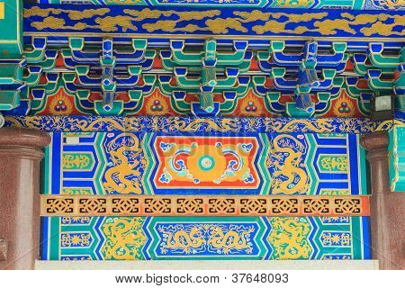 Detail View Of Chinese Old Palace, With Colorful Details Of Wooden Facade