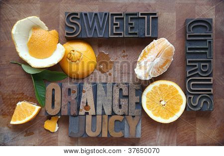 orange cut and peeled with related words
