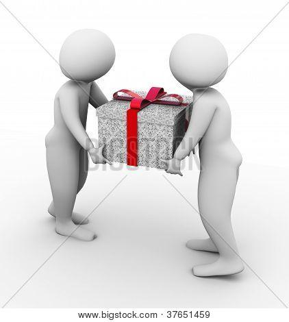 3D Men Carrying Giftbox