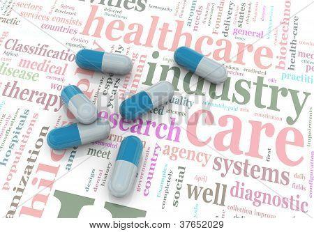 3D pastillas en Wordcloud de la salud