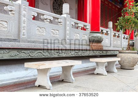 Chinese Temple Terrace With Marble Chair