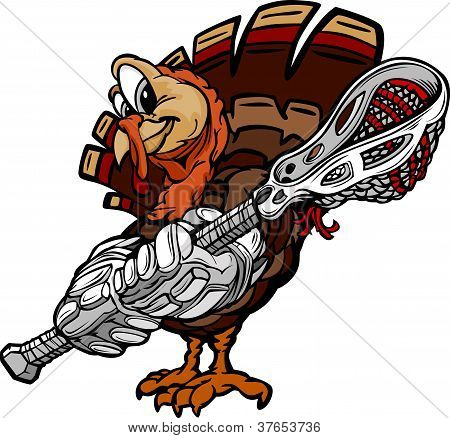 Lacrosse Thanksgiving Holiday Turkey Cartoon Vector Illustration