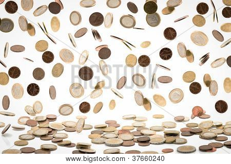 Falling Euro Coins