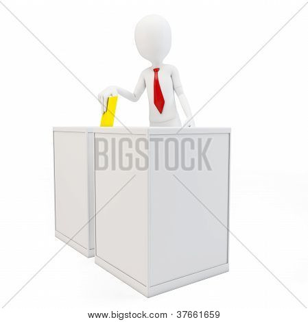 3D Man With Tie Before A Ballot Box Voting
