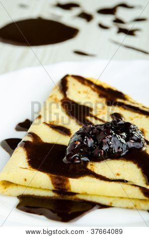 Delicious Pancake Covered With Chocolate