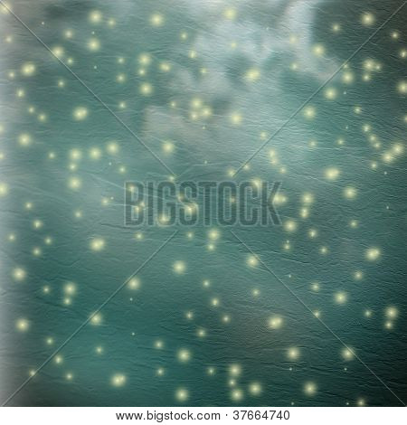 Abstract Green Paper Background With Glowing Lights