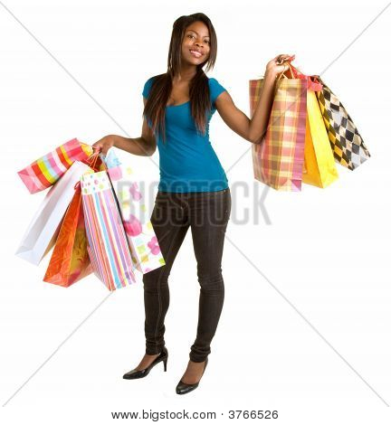 Young African American Woman On A Shopping Spree