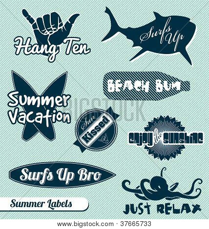 Vector Set: Vintage Beach Labels