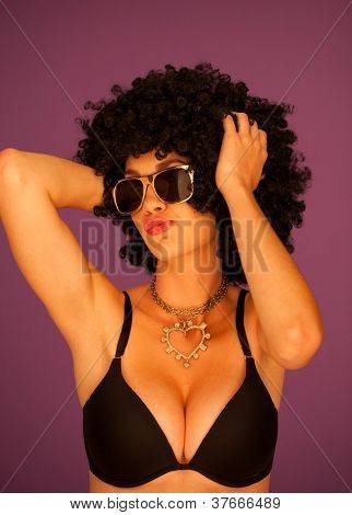 Woman With Afro Wearing Lingerie