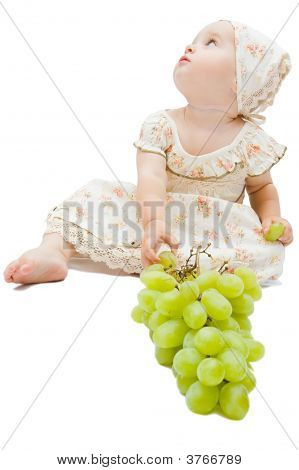 Little Baby Girl Eats Big Grapes