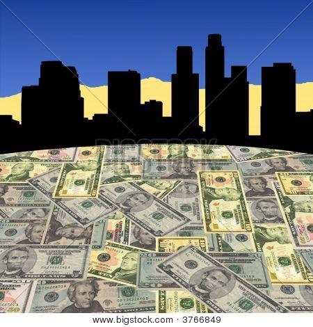 Los Angeles Skyline With Dollars