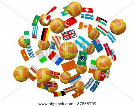 Volleyball Balls And Flags