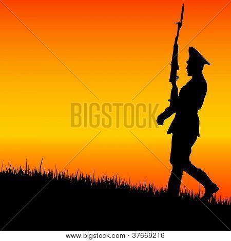 Soldado na guarda em vetor de natureza