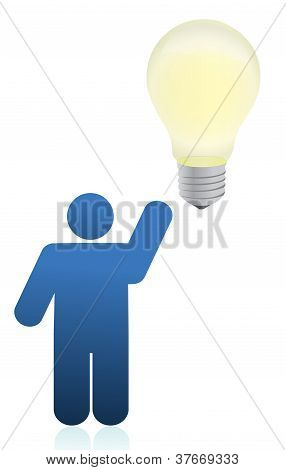 Icon Person An Lightbulb Illustration Design