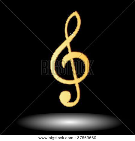 Golden Music Note Button