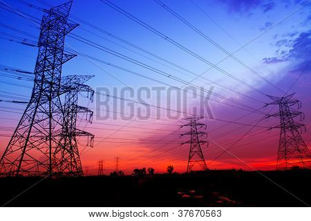 Silhouette Electricity Pylons