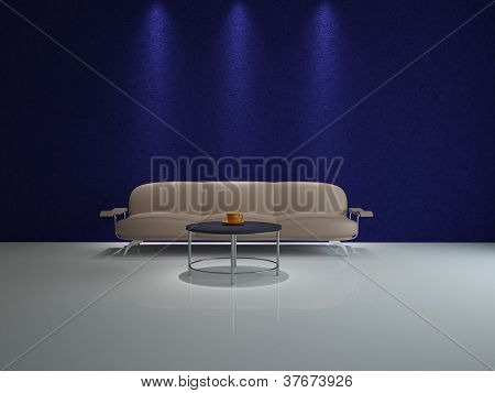 Leather Sofa And A Table