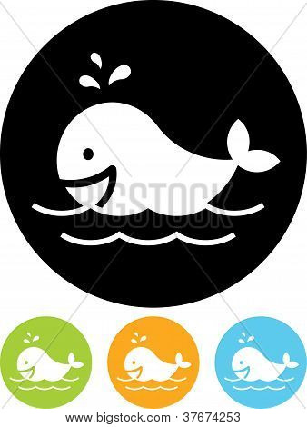 Vector Icon Isolated On White - Whale