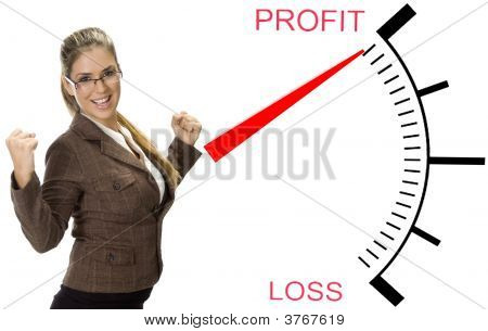 Beautiful Woman Near Profit Loss Meter