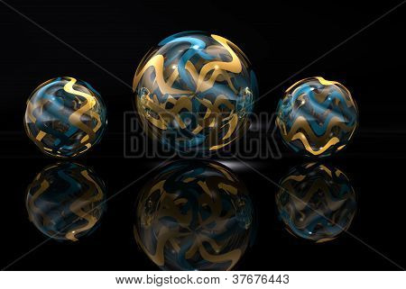 Gold And Blue Marbles