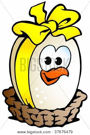Hand-drawn Vector Illustration Of An Chicken Egg Sitting In A Basket