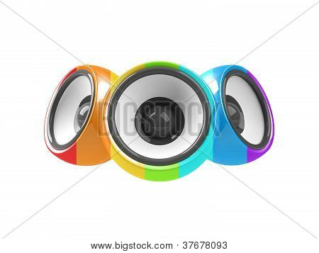 Multicolored Audio System Isolated On White Background