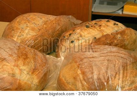 Variety of Bread wrapped in plastic