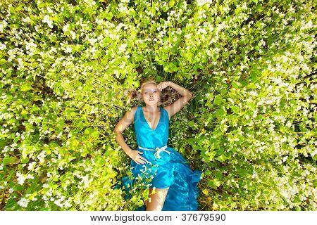 beautiful woman wearing blue dress on a field