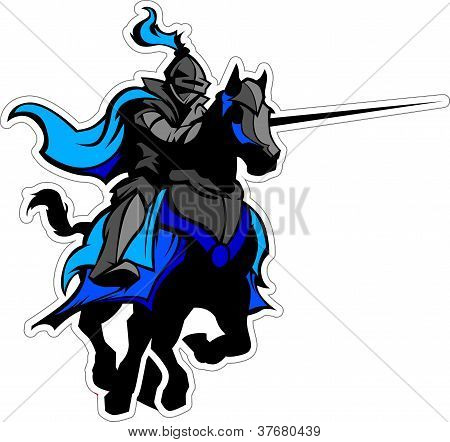 Jousting Blue Knight Mascot On Horse
