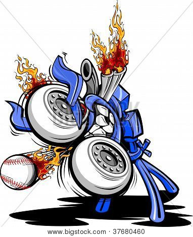 Monster Baseball Pitching Machine Cartoon Vector Illustraton