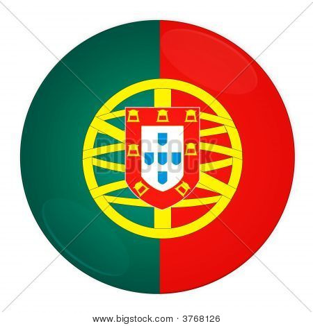 Portugal Button With Flag