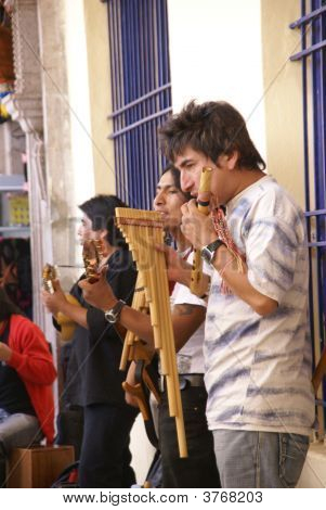Band Playing Andean Music, Panpipes