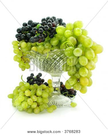 Cluster Of Green And Blue Grape Isolated On White