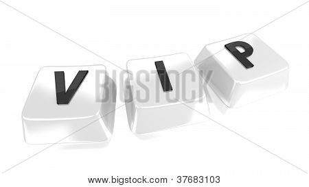 Vip Written In Black On White Computer Keys. 3D Illustration. Isolated Background.