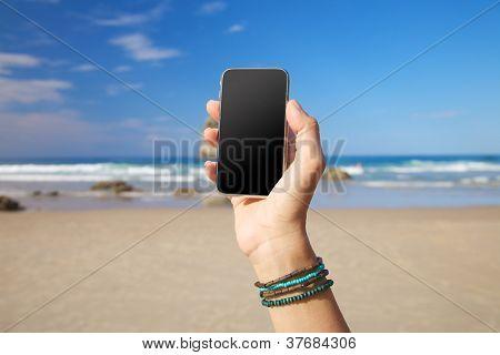 Blank Screen Mobile In The Beach