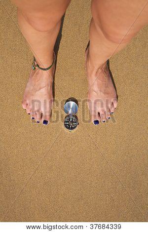 Compass On Sand Ground