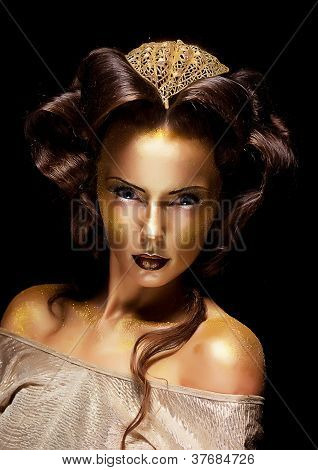 Woman Gilded Golden Face - Theater Luxury Make Up