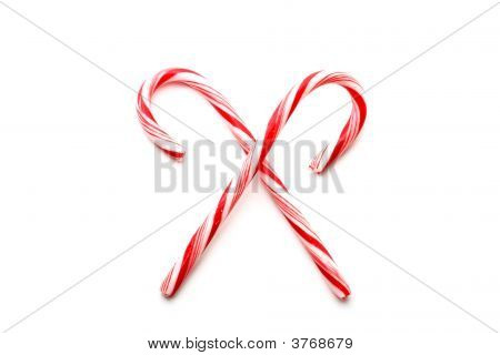 Two Red And White Christmas Candy Canes
