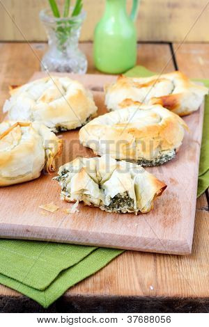 Spinach and cheese filo pastries